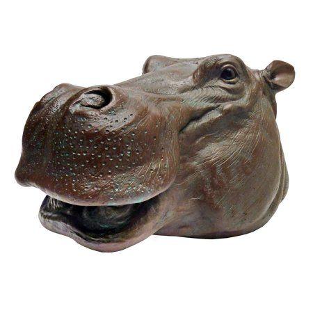 Bronze Resin Hippo Garden Sculpture Gardening Christmas Gift Lawn Ornament