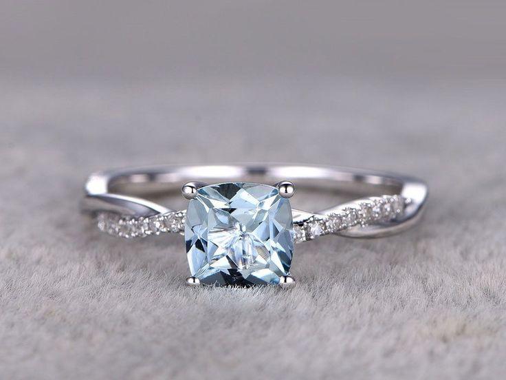 White Gold Aquamarine Engagement Rings
