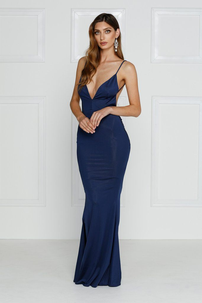 Alamour The Label - Penelope Navy Gown