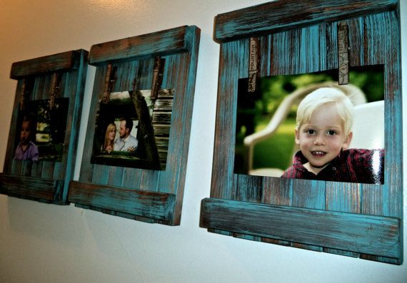 Picture frame/Rustic/distressed/ recycled pallets and barn wood/antique style clothespins. on Etsy, $15.00