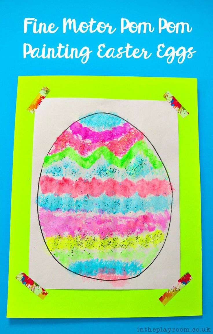 Fine Motor PomPom Painting Easter Eggs - In The Playroom