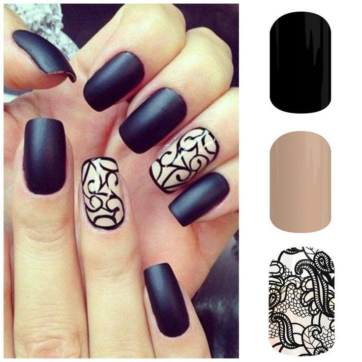 This salon manicure can easily be done by you at home! Just use #Jamberry nail wraps! Darkest Black and Black Lace layered over Almond- all in the new Spring/Summer 2015 catalog! http://nancybenson.jamberrynails.net/profile/
