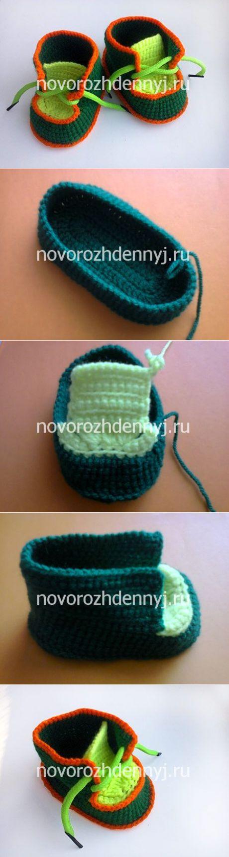 Пинетки ботиночки крючком мастер класс от мамы | Уход за новорожденным