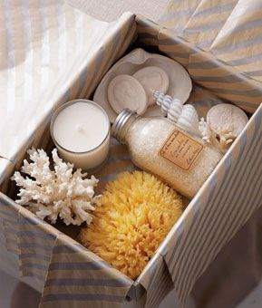 Brides.com: . Your out-of-town guests will feel pampered when they find this spa-themed welcome gift box in their hotel rooms. Metallic tissue in silver diagonal stripe, $31.50 for 250 sheets, 800giftbox.com; natural sea sponge, $8, pier1.com; cucumber bath salts, $20, by Lothantique at Gracious Home, 212-988-8990; cameo soap, $10 for a box of six, twoscompany.com; coral and shells, Sea Shell City
