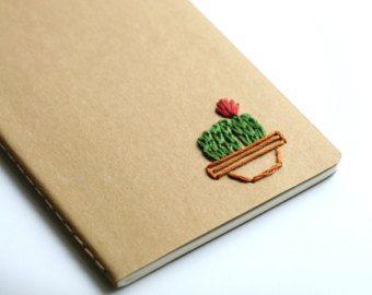 Pineapple hand embroidered moleskine pocket by PoppyandFern