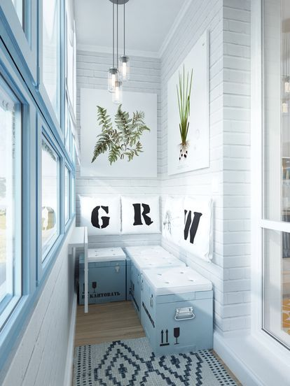 Дизайн небольшой квартиры для девушки (балкон)