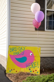 bird themed birthday party - cardboard painted bird welcome sign