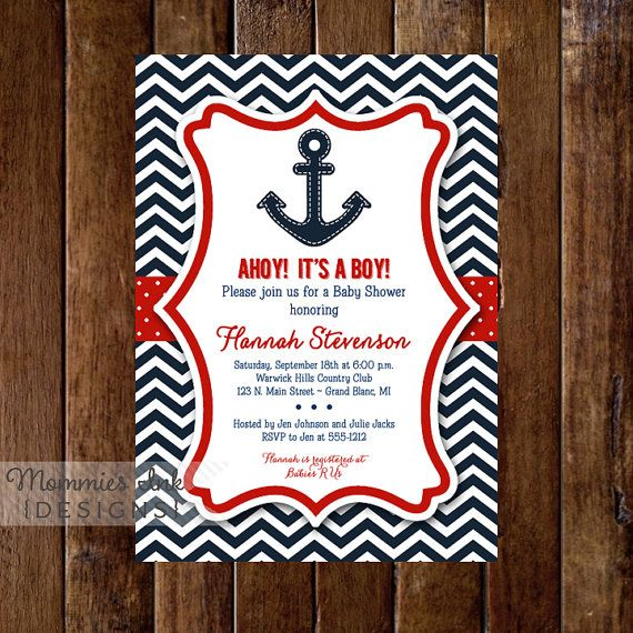 Ships Ahoy Chevron Anchor Baby Shower by MommiesInk on Etsy