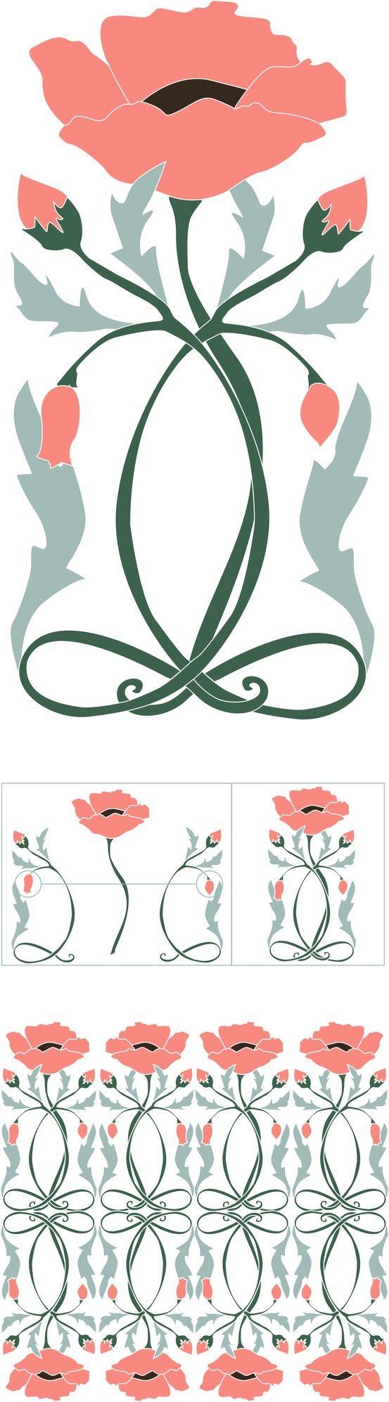 Art Nouveau Flower Illustrations