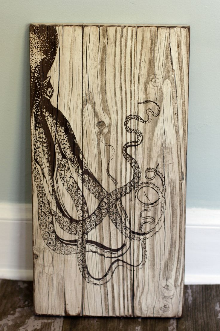 Laser cut octopus on reclaimed wood. Located inside Saltologie, 815 St N,  Jacksonville Beach, FL - 8 Best Images About Reclaimed Wood Signs On Pinterest