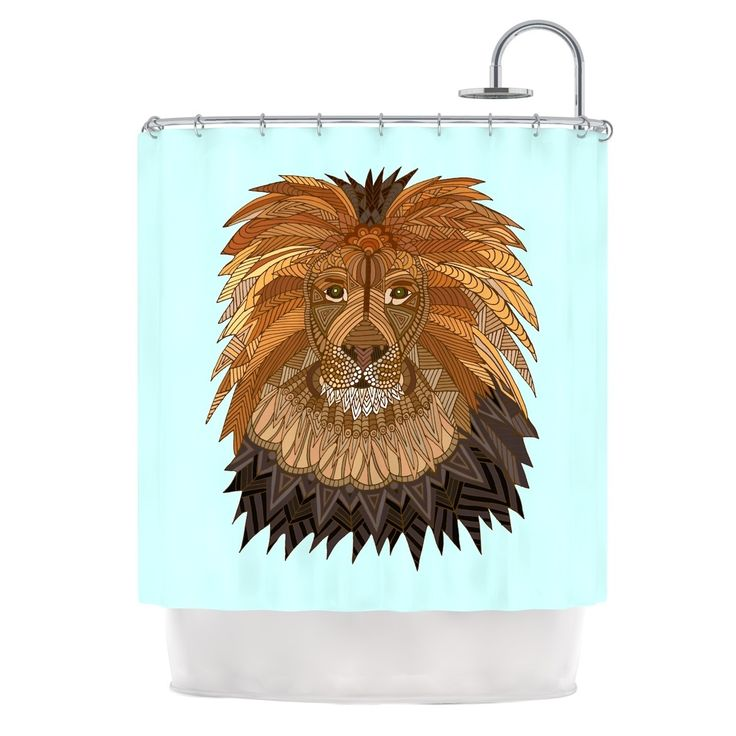 "Kess InHouse Art Love Passion ""Lion"" Blue Brown Shower Curtain"