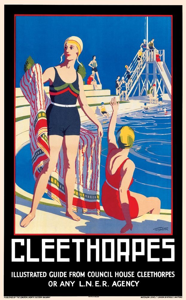 Cleethorpes  The Railway passed through Grimsby Town and Grimsby docks stations and on to the terminus at Cleethorpes . In busier times , this is where many people from Grimsby and beyond , came for recreational delights .  This 1929 Image was commissioned by LNER, and was very bold for its day !   Artwork by Templeton.17