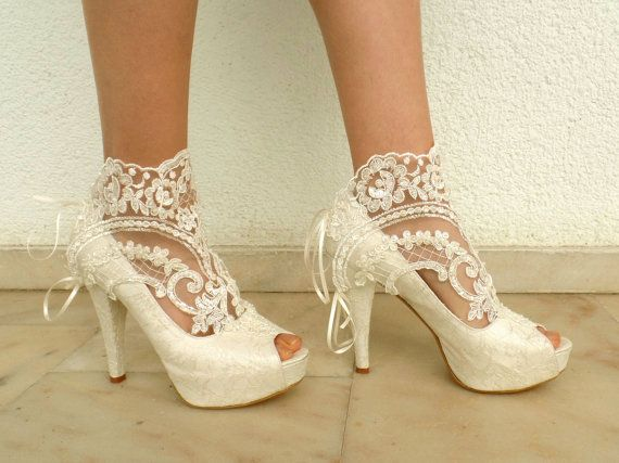Wedding Shoes  Bridal Shoes Embroidered by KUKLAfashiondesign  Obviously she just glued doilies to the original shoe---great DIY project