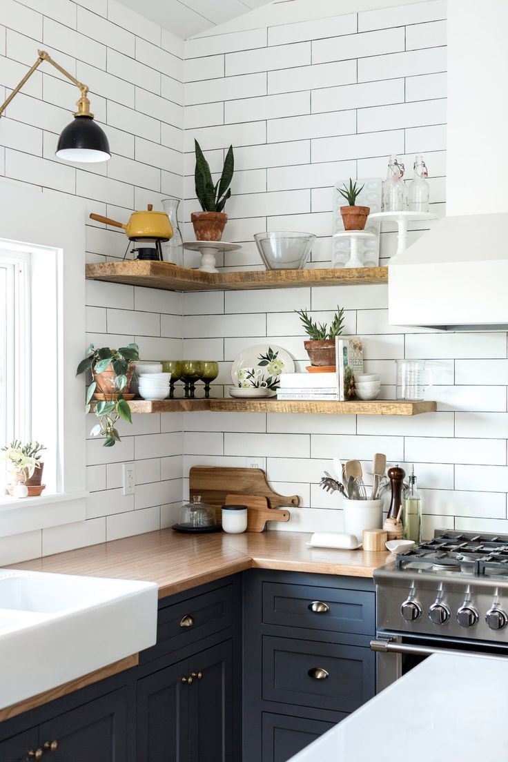 styled open shelving in the kitchen of this Vintage Eclectic Barn   room of the …