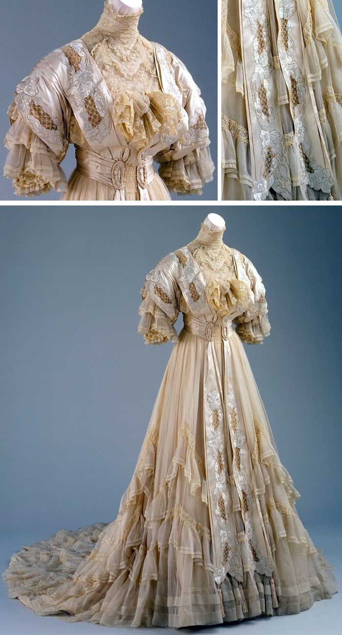 Wedding dress, two pieces, US, 1894. Silk chiffon. Los Angeles County Museum of Art