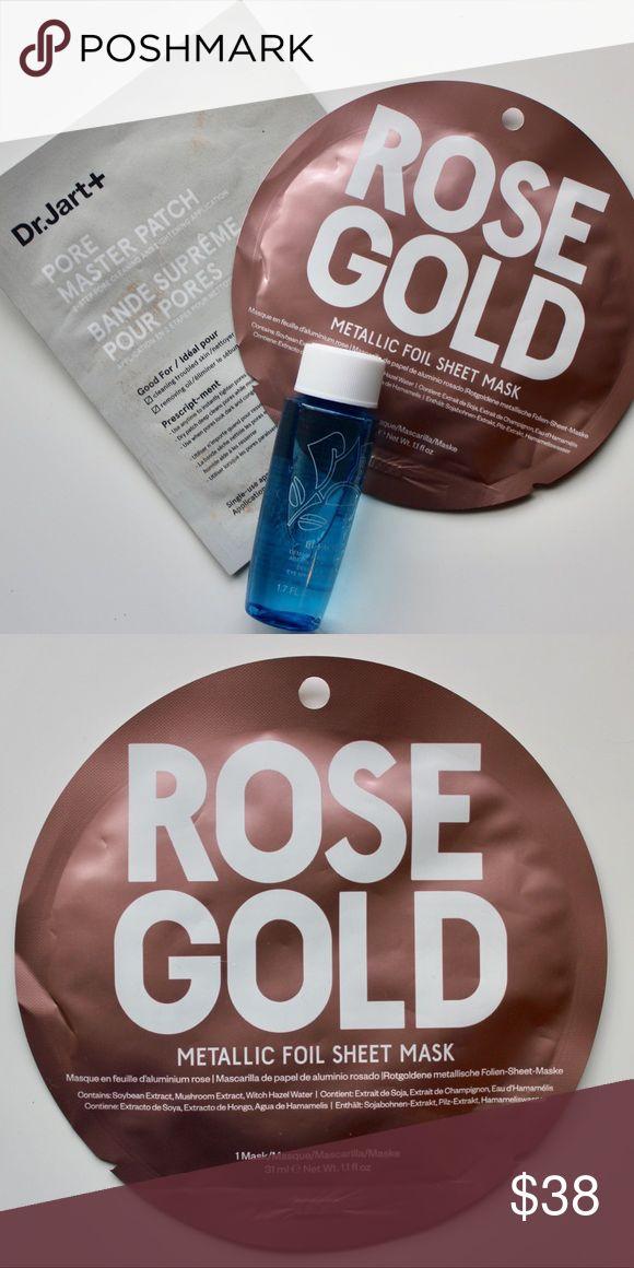 Mask Set + Lancôme Makeup Remover Brand NWT never used! Includes: rose gold face mask, Dr. Jart pore Mask, and  Lancôme Liquid Makeup Remover. Lancome Makeup Brushes & Tools