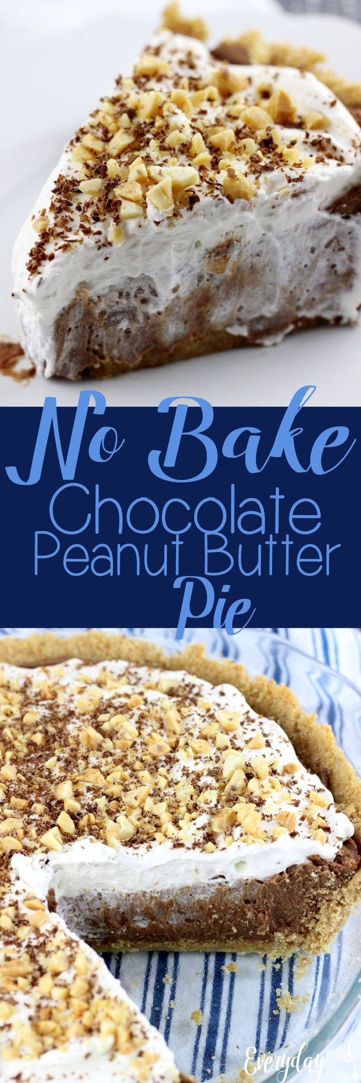 If you love peanut butter cups, this simple No Bake Chocolate Peanut Butter Pie is for you! The base is a simple homemade graham cracker crust, filled with a chocolate ganache, cream cheese, peanut butter mixture that is finger licking good! | EverydayMadeFresh.com http://www.everydaymadefresh.com/no-bake-chocolate-peanut-butter-pie/ #dessertfoodrecipes