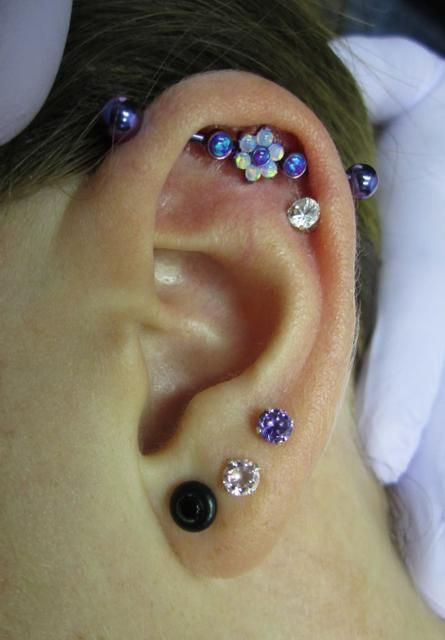 Flowered Industrial Barbell Blurple color with White and Purple Opals