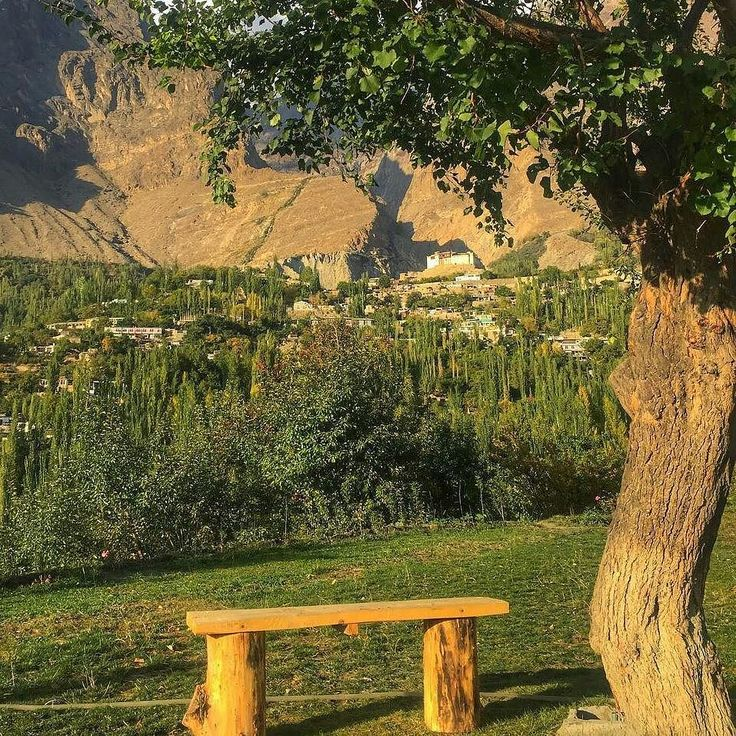 Baltit Fort and Karimabad town in Hunza valkey at sunset time