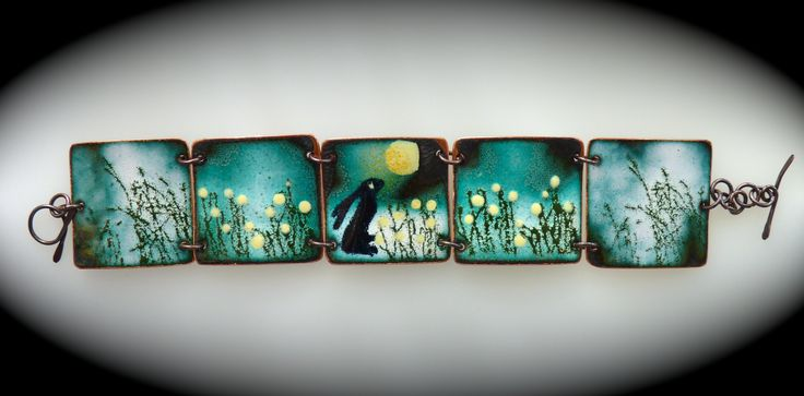 vitreous enamel on copper. Picture book bracelet www.enamelled jewellery.com Too darn cute!