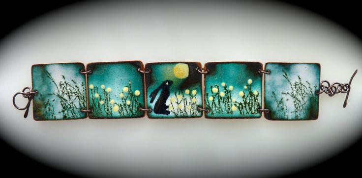 vitreous enamel on copper. Picture book bracelet www.enamelled jewellery.com Too darn cute!