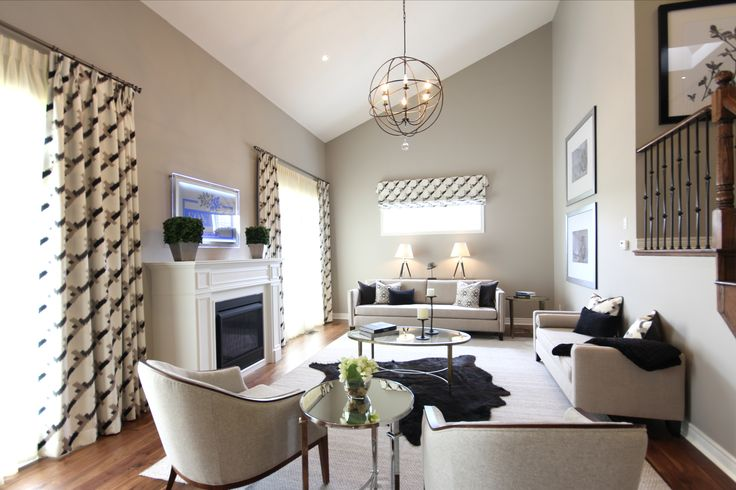 Great room in our Maple model home at Fox Trail in Uxbridge