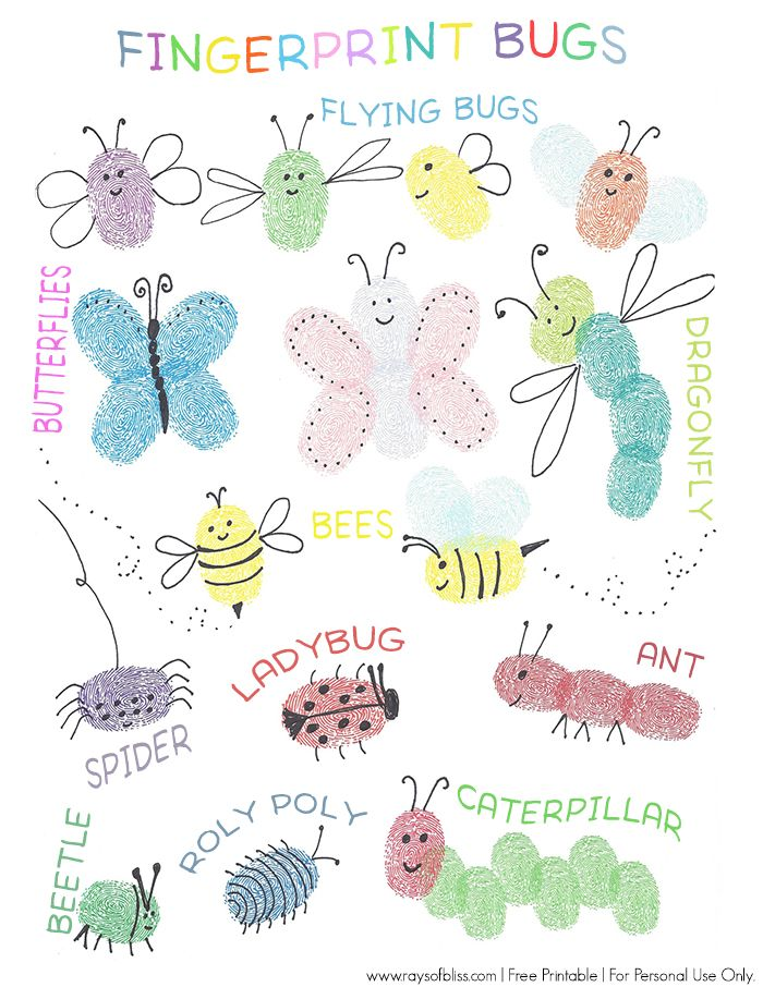 Bugs Fingerprint Art, Fun Kids Art Project. Free Printable Guide for little ones to copy or fingerprint on. From Rays of Bliss.