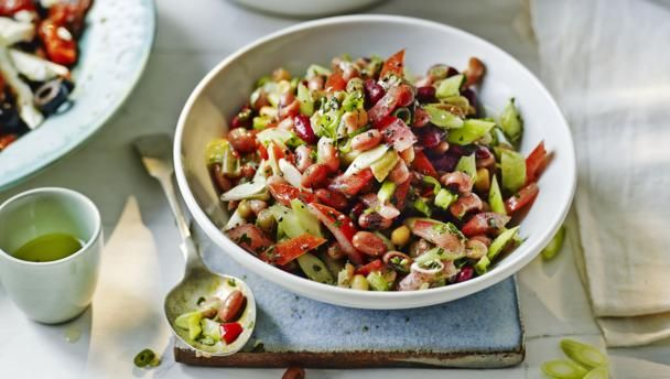 Grab that tin of beans from the back of your store cupboard and whip up this simple salad.   Each serving provides 107kcal, 3g protein, 8g carbohydrate (of which	2g sugars), 6g fat (of which 1g saturates),	4g fibre and 0.1g salt.