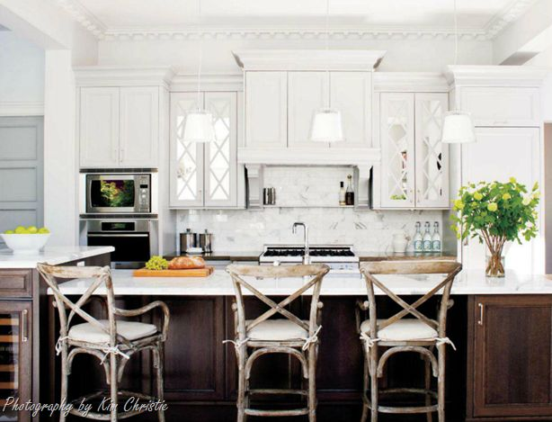 mirrored cabinet doors = lovely: Wood, Chairs, Islands, Bar Stools, House, Barstool, Kitchens Cabinets, White Cabinets, White Kitchens