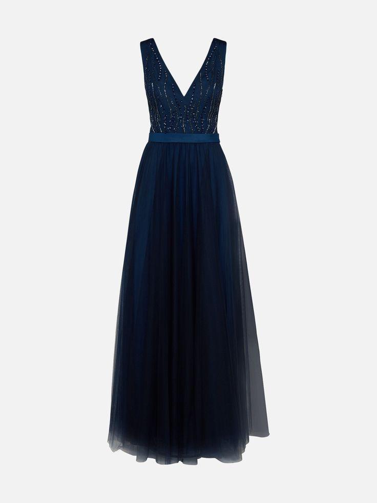 mascara Abendkleid mit Perlen- und Paillettenbesatz in blau bei ABOUT YOU