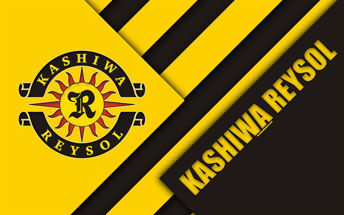 Download wallpapers Kashiwa Reysol FC, 4k, material design, Japanese football club, black yellow abstraction, logo, Kashiwa, Chiba, Japan, J1 League, Japan Professional Football League, J-League