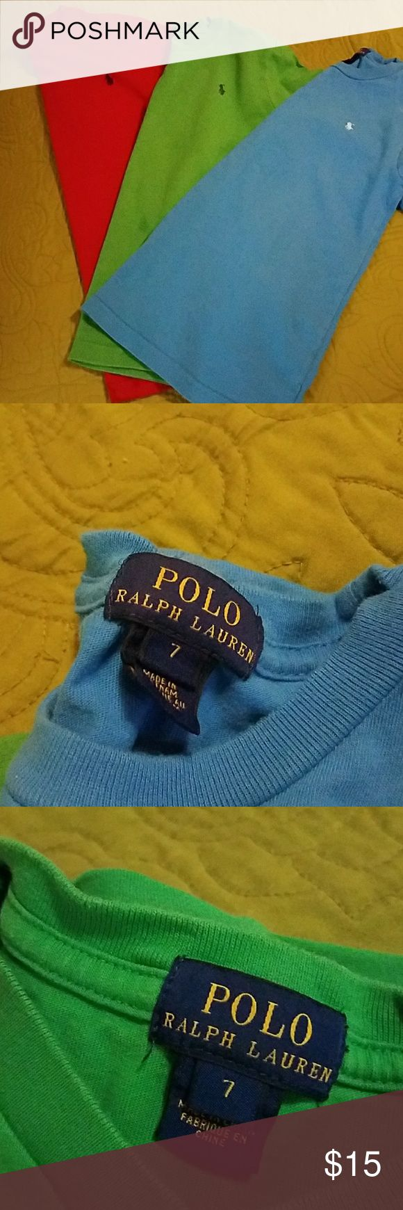 Lot of 3 Polo Ralph Lauren T-shirts Gently used Lot of 3 Polo Ralph Lauren T-shirts, red,blue,green, great condition Polo by Ralph Lauren Shirts & Tops