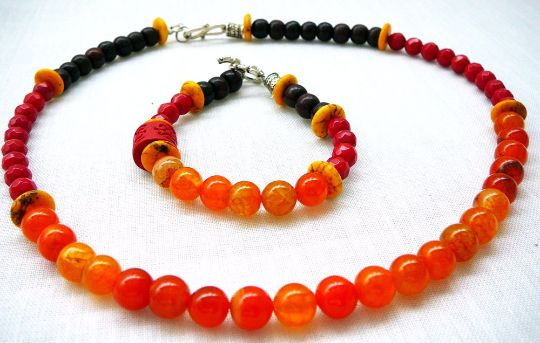 Himalayan Sunrise - Necklace and Bracelet / Agate Coral Colored Bamboo, Yellow Dyed Howlite, Mala Beads Nepal by BatyaHavDesign, $69.00 USD
