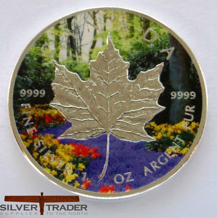 Canadian Maple Leaf Spring Season Coloured Silver Bullion Coin