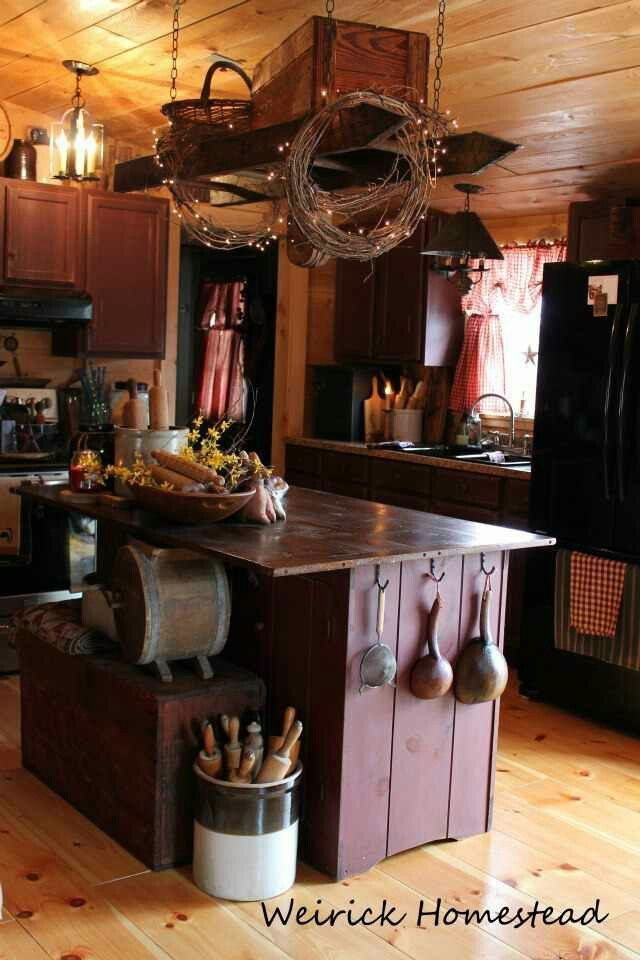 """Primitive Kitchen...old ladder hanging from the ceiling.""  ~ Oh me oh my! Look up to the sky.... that Ladder idea is...precious, along with the rest of the Kitchen. *sigh* <3 ~"