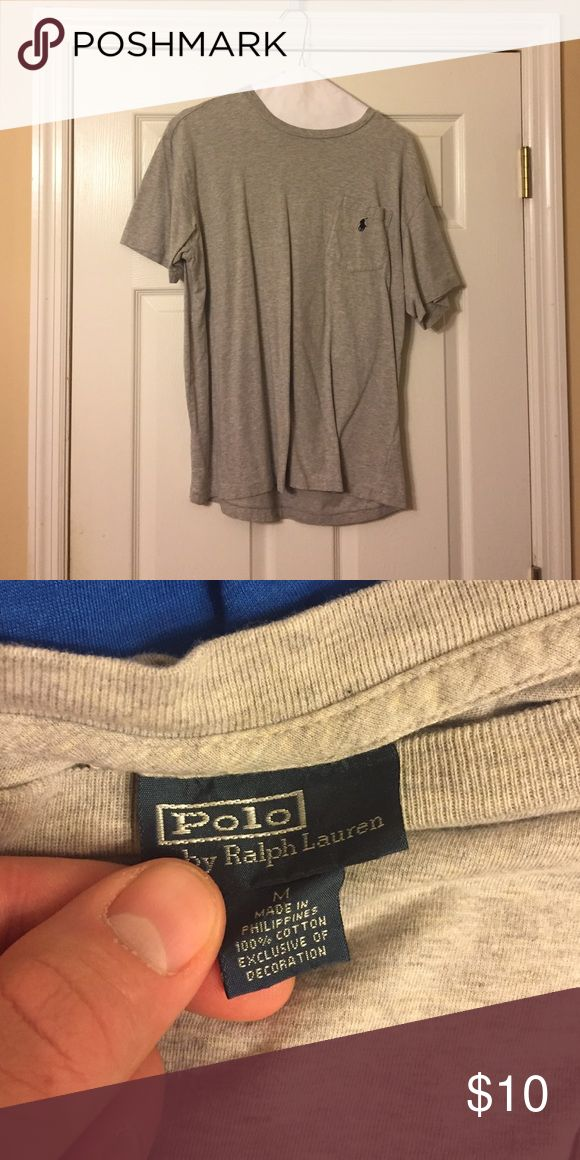 Men's polo t-shirt Men's grey polo t-shirt with front pocket. Size medium Polo by Ralph Lauren Shirts Tees - Short Sleeve