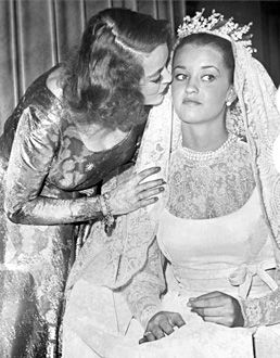 Bette Davis and daughter B.D. Hyman on her wedding day January 4, 1964.