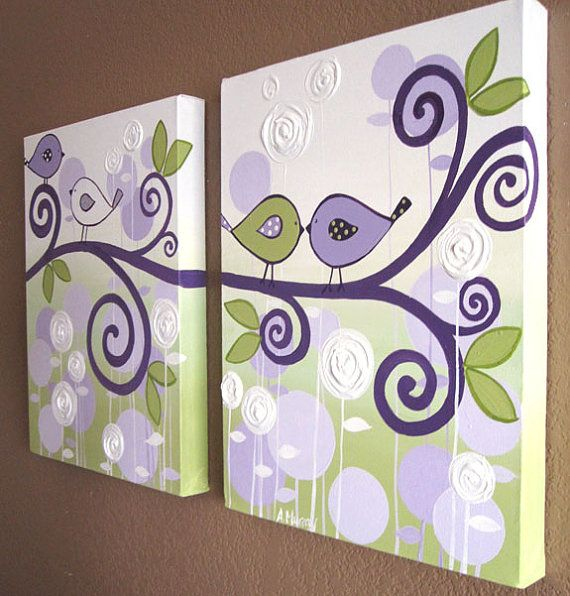 Wall Art, Lavender Purple and Green Modern Bird Nursery Art, Two 12x16 Canvases, Made to Order
