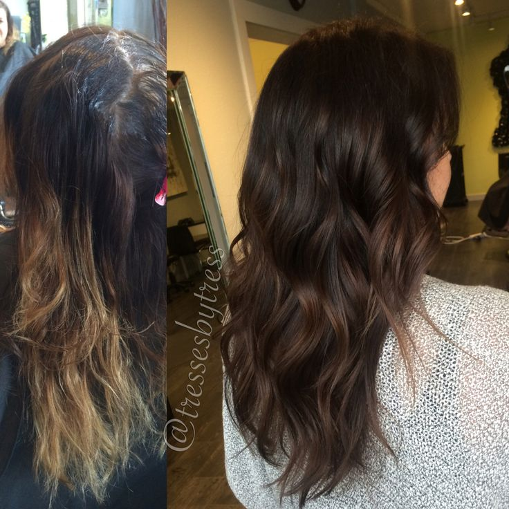 Dark brown chocolate brown balayage ombré makeover