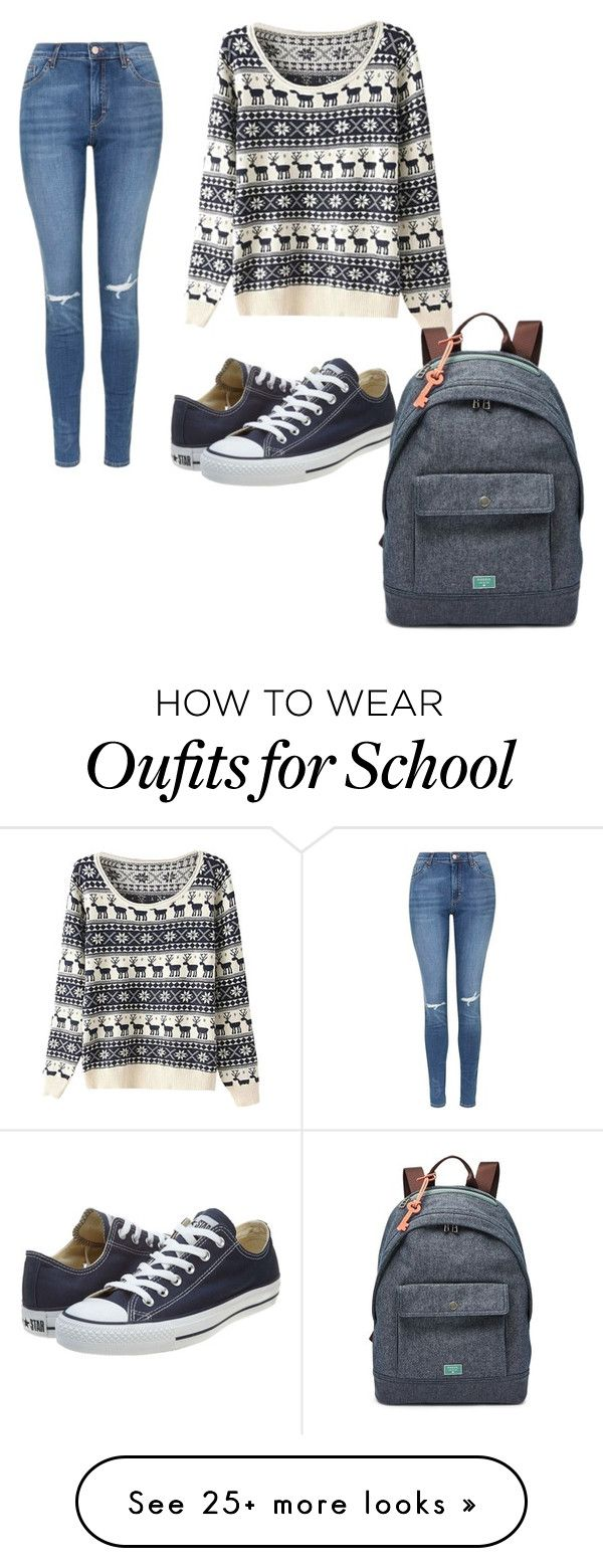 """School"" by chrstyless on Polyvore featuring Topshop, Converse, FOSSIL, women's clothing, women, female, woman, misses and juniors"