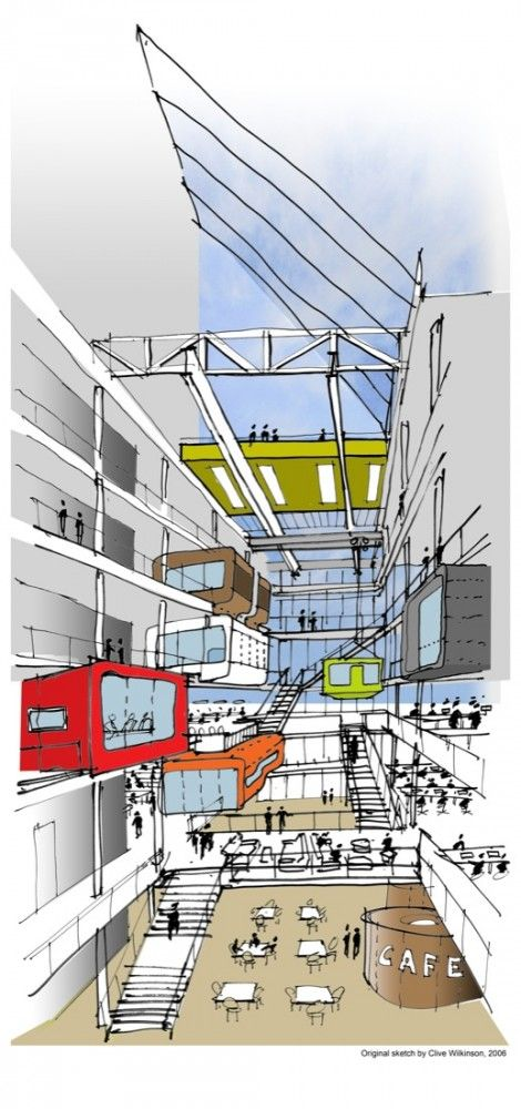 i kinda like the cartoonish hand sketched look. Macquarie Bank by Clive Wilkinson Architects   via ArchDaily