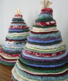 DIY Christmas Tree from #recycled sweaters, and 50+ more things to make from old sweaters @savedbyloves