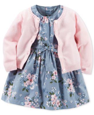 ღ¸.•❤ Carter's Baby Girls' 2-Pc. Cardigan & Floral-Print Dress Set $16.99 Soft florals enhance the dreamy-sweet appeal of this two-piece set from Carter's, featuring a button-front cardigan paired with a delicate floral-print dress.