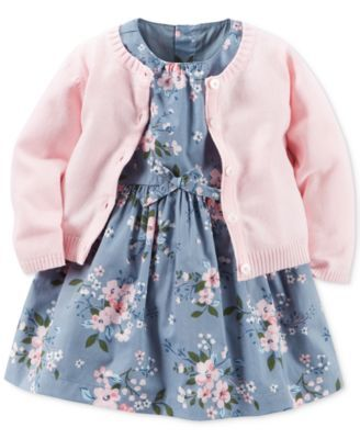 Carter's Baby Girls' 2-Pc. Cardigan & Floral-Print Dress Set $16.99 Soft florals enhance the dreamy-sweet appeal of this two-piece set from Carter's, featuring a button-front cardigan paired with a delicate floral-print dress.