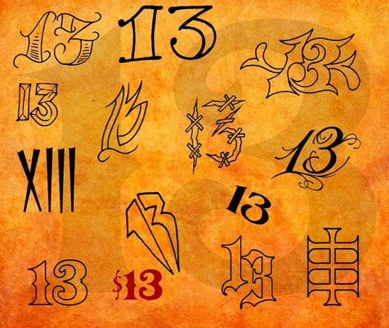 the soft script 13 in the middle on the right friday the 13th tattoos - Google Search