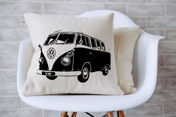 "VW Hippie Van Couch Pillow (14"" x 14"") - Insert Included"