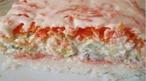 Этот чудесный салатик станет центральным закусочным блюдом даже на самом торжественном банкете. Нежный вкус, ничем не хуже настоящих суши и роллов, привлекательный, очень аппетитный внешний вид и минимум времени на приготовление — все плюсы налицо. А если еще сделать красивое оформление с использованием красной икры, лимона и свежей зелени, то салат «Суши» достоин и Новогоднего …