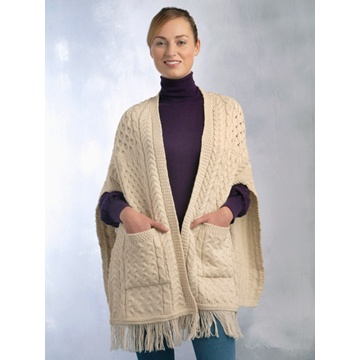 Aran Knit Pocket Shawl Natural