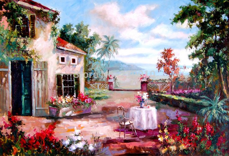 free shipping Greek Mediterranean architecture landscape canvas printed oil painting Mediterranean style Oil Painting on Canvas