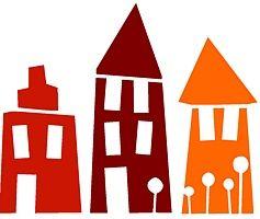 Michas Stoffecke - Velours-Motiv - 3 Häuser rot-bordeaux-orange A-VSM-002-HID